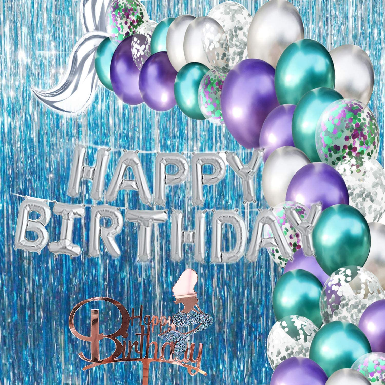 Little Mermaid Party Supplies And Decorations Under The Sea Birthday Pack Kit With Balloons Garland Arch Baby Girl Ocean Theme Happy Birthday Walmart Com Walmart Com
