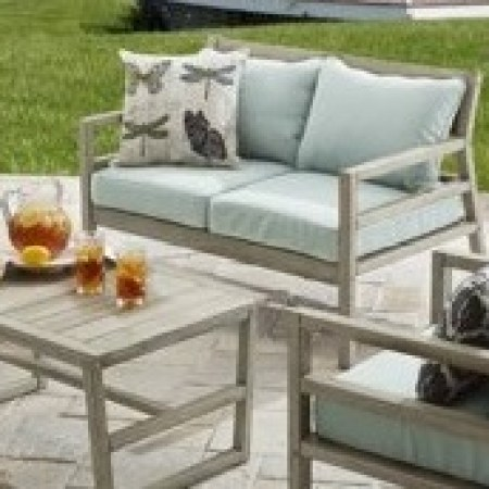 Better Homes and Gardens Cane Bay Wood Outdoor Loveseat