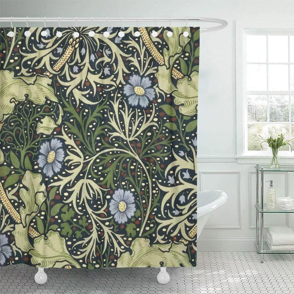 atabie pre william morris seaweed pattern floral vintage raphaelite artistic shower curtain 66x72 inch