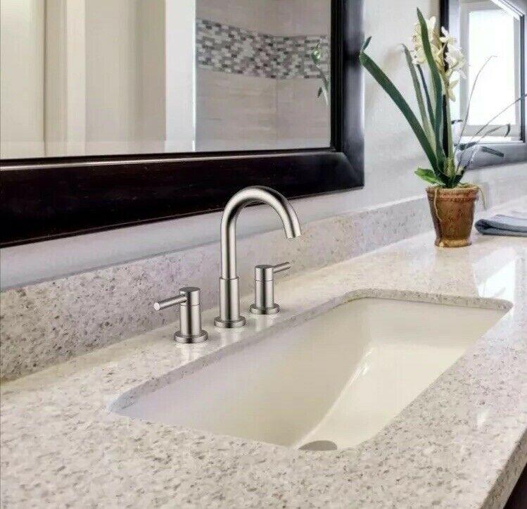 jacuzzi duncan brushed nickel pvd 2 handle widespread watersense bathroom sink faucet with drain