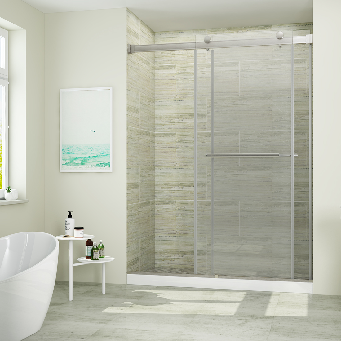 Sunny Shower 60 W X 79 H Sliding Shower Door 5 16 Clear Glass Brushed Nickel Finish