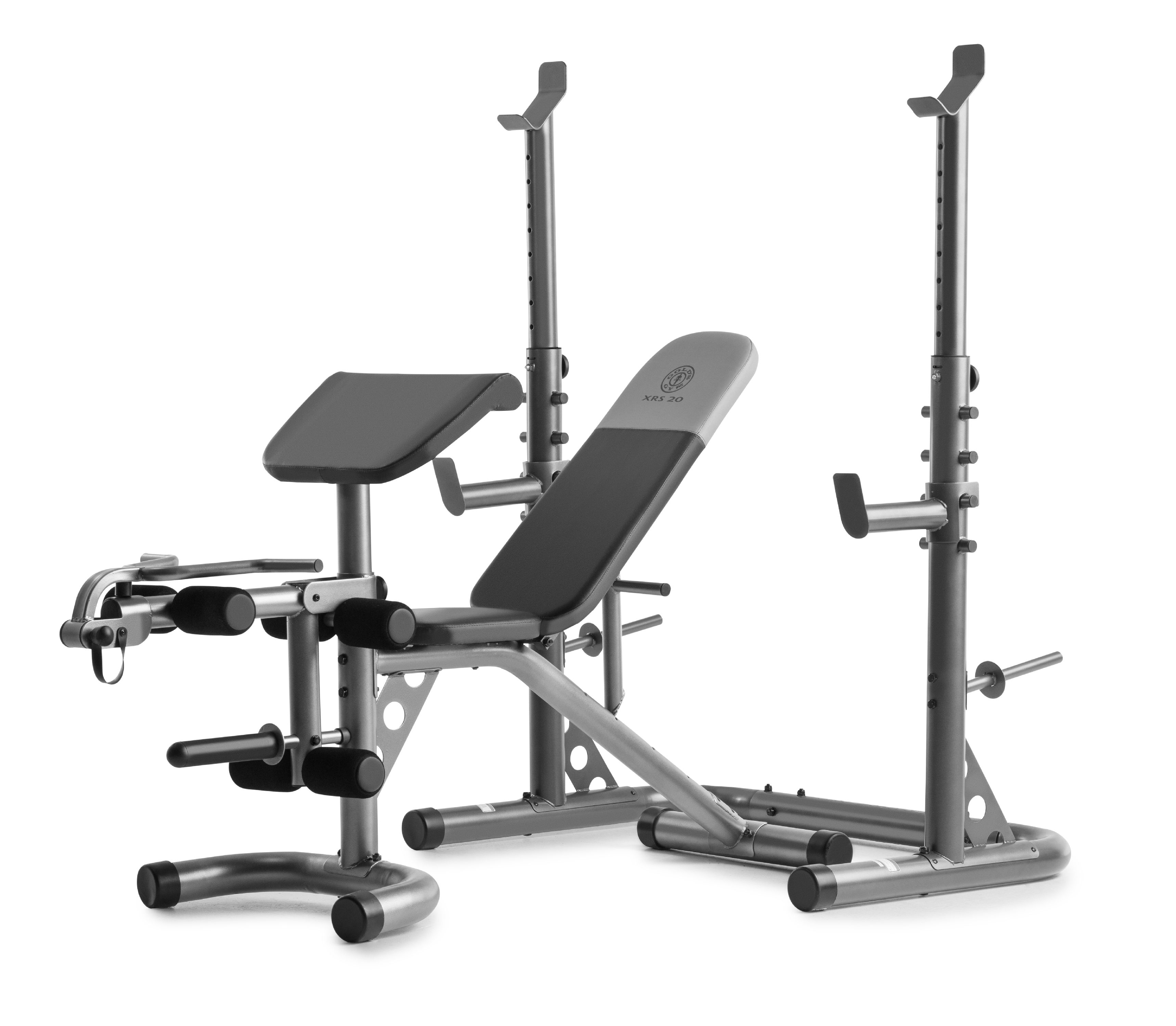 gold s gym xrs 20 adjustable olympic workout bench with squat rack leg extension preacher curl and weight storage walmart com