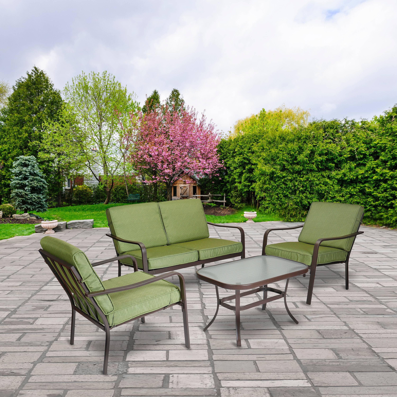 mainstays stanton 4 piece patio furniture conversation set green metal