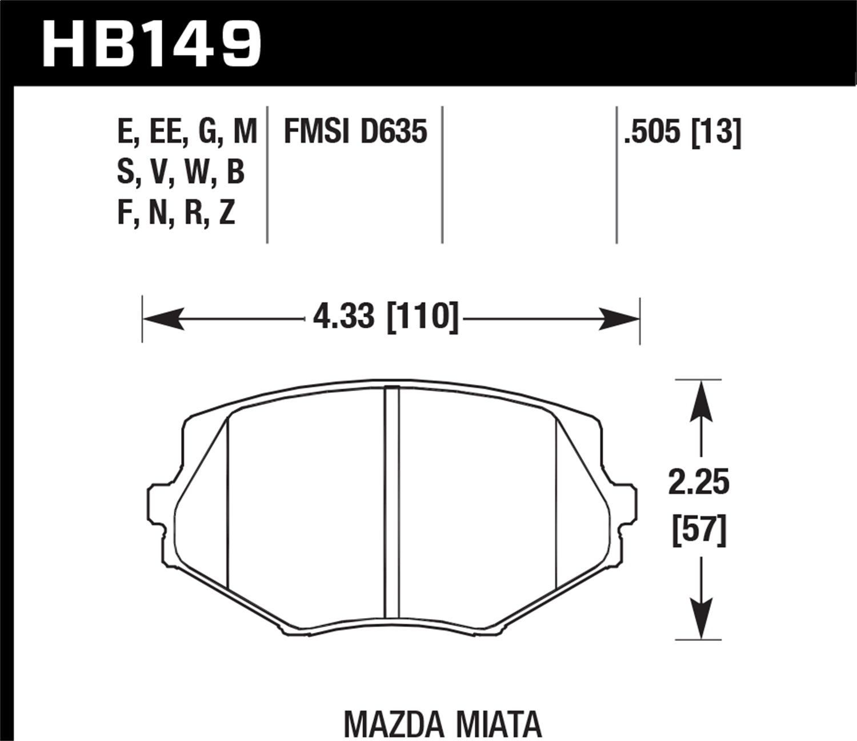 Hawk 94 97 Mazda Miata 99 03 Miata Dtc 30 Race Front