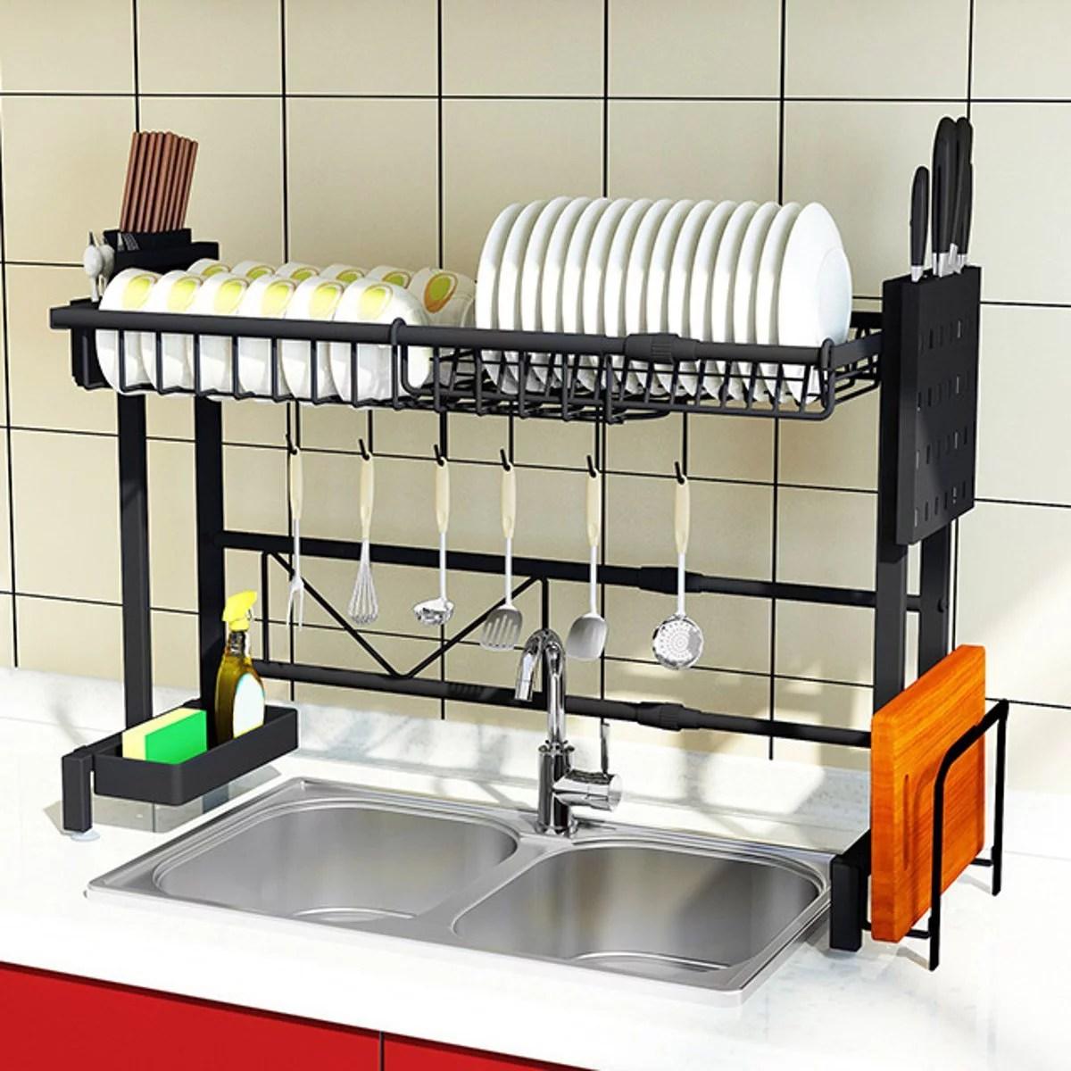 Dish Bowl Utensils Drying Rack Over Sink Drainer Kitchen Shelf For Kitchen Drying Rack Organizer Supplies Storage Counter Kitchen Space Saver Utensils Holder Stainless Steel Walmart Canada