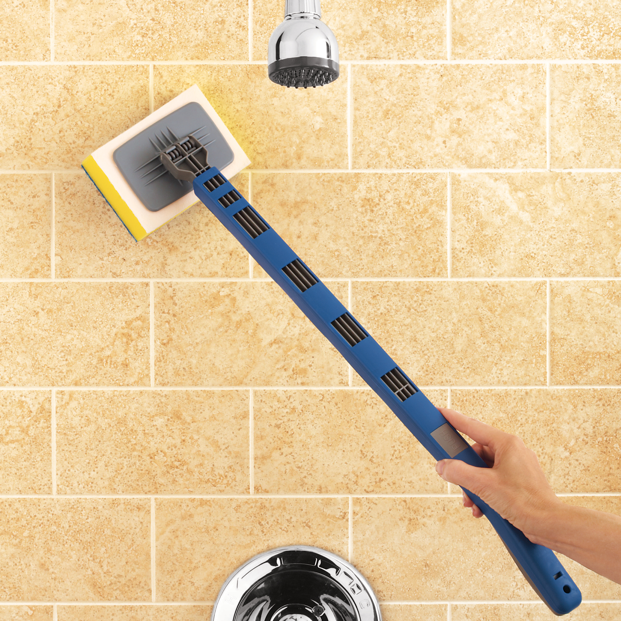 shower tub tile scrubber brush with extendable handle and swivel head for hard to reach places cleaning supplies for bathroom blue walmart com
