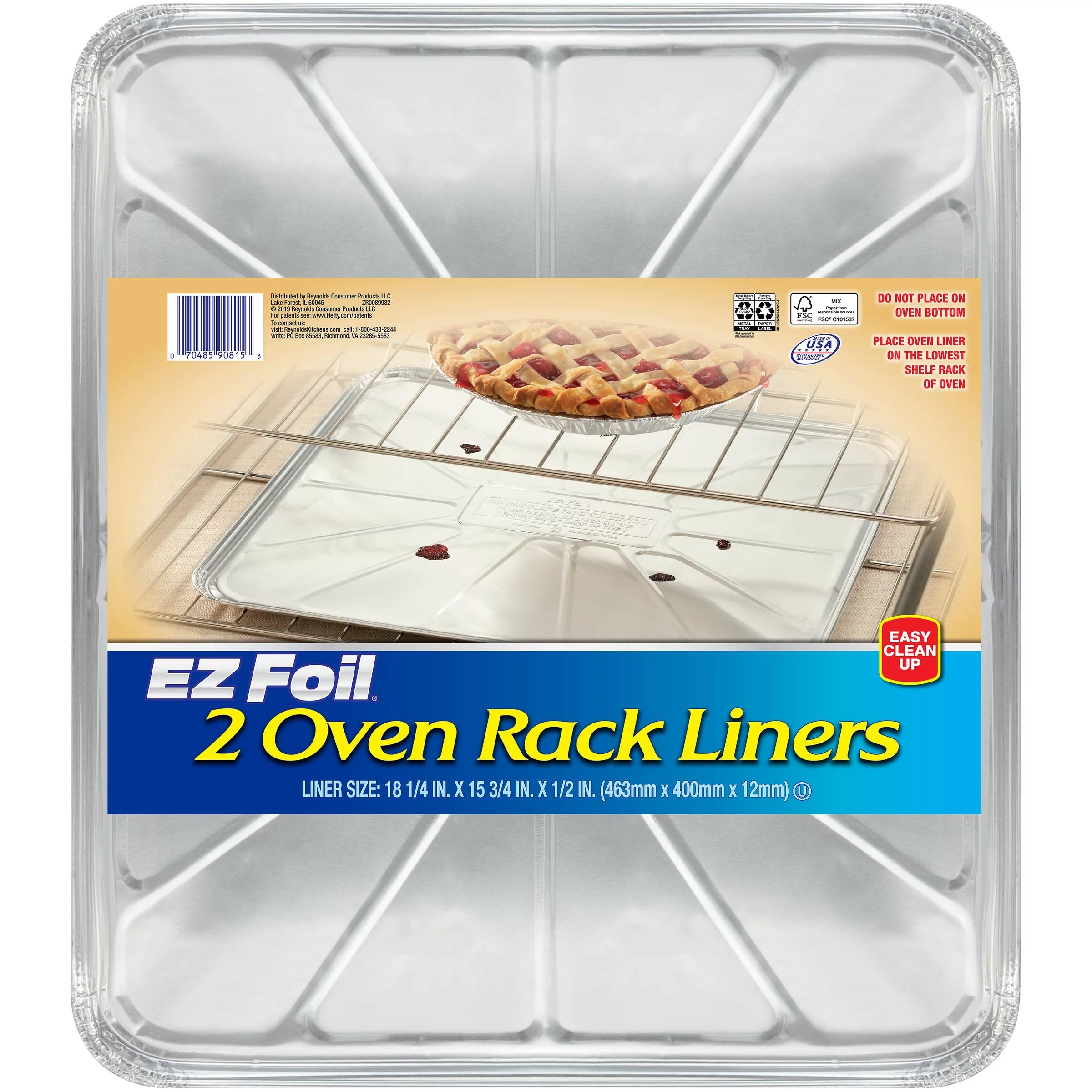 ez foil oven rack liner tray 18 1 4 x 15 3 4 x 1 2 inches 2 count walmart com