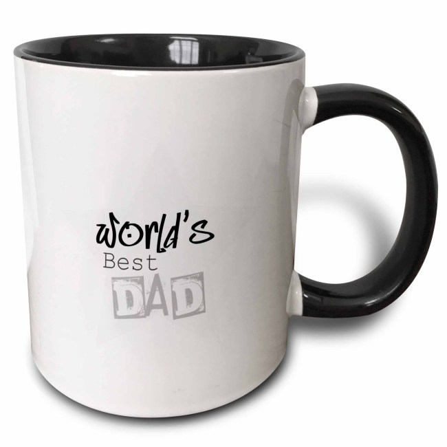 3dRose Worlds Best Dad in Gray Words Fathers Day, Two Tone Black Mug, 11oz