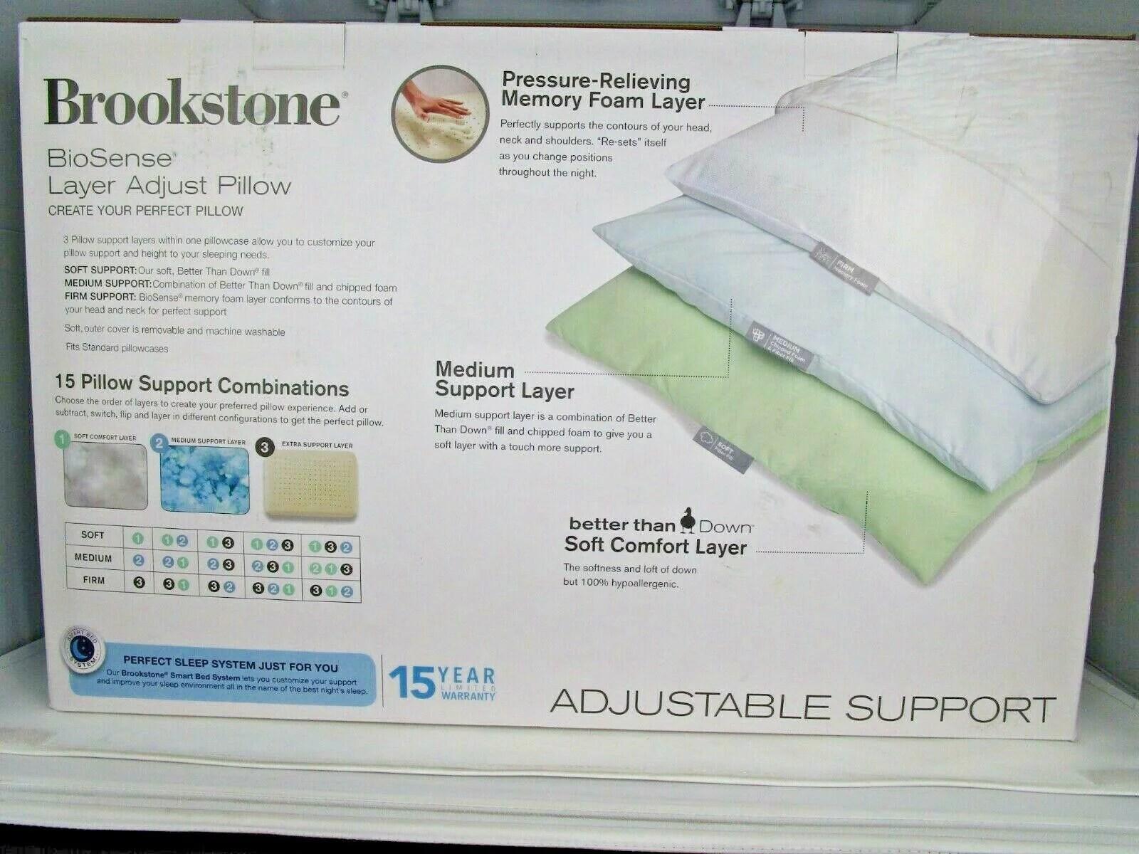 brookstone biosense layer adjust standard queen memory foam pillow 18 x 26 in