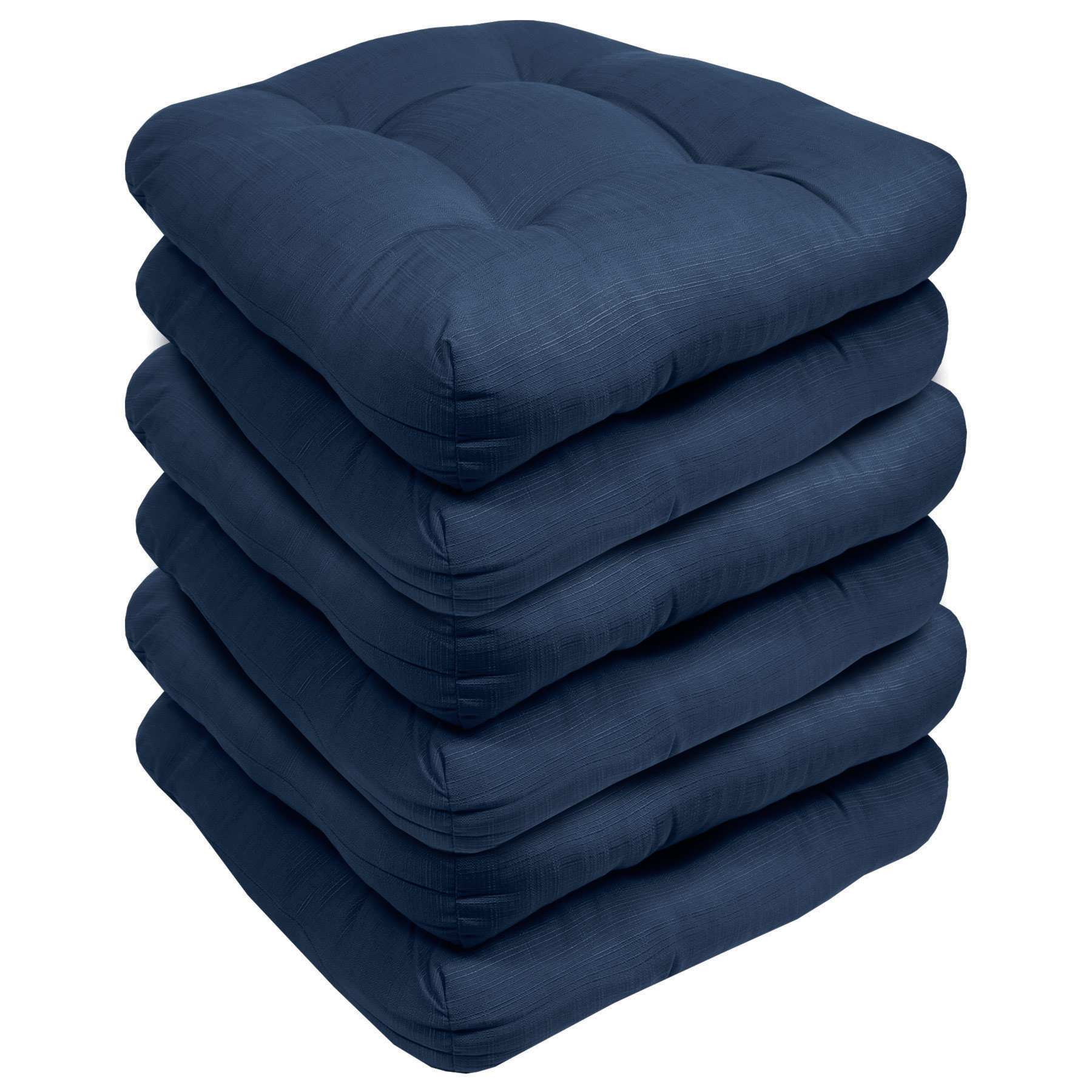 indoor outdoor reversible patio seat cushion pad 6 pack navy 19 x 19