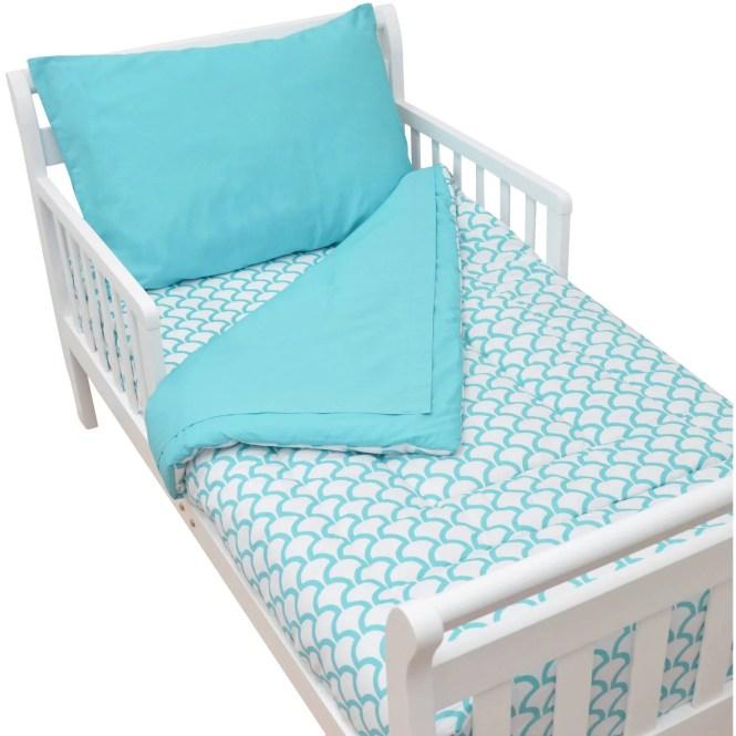 American Baby Company 100 Cotton Percale 4 Piece Toddler Bedding Set Aqua Sea