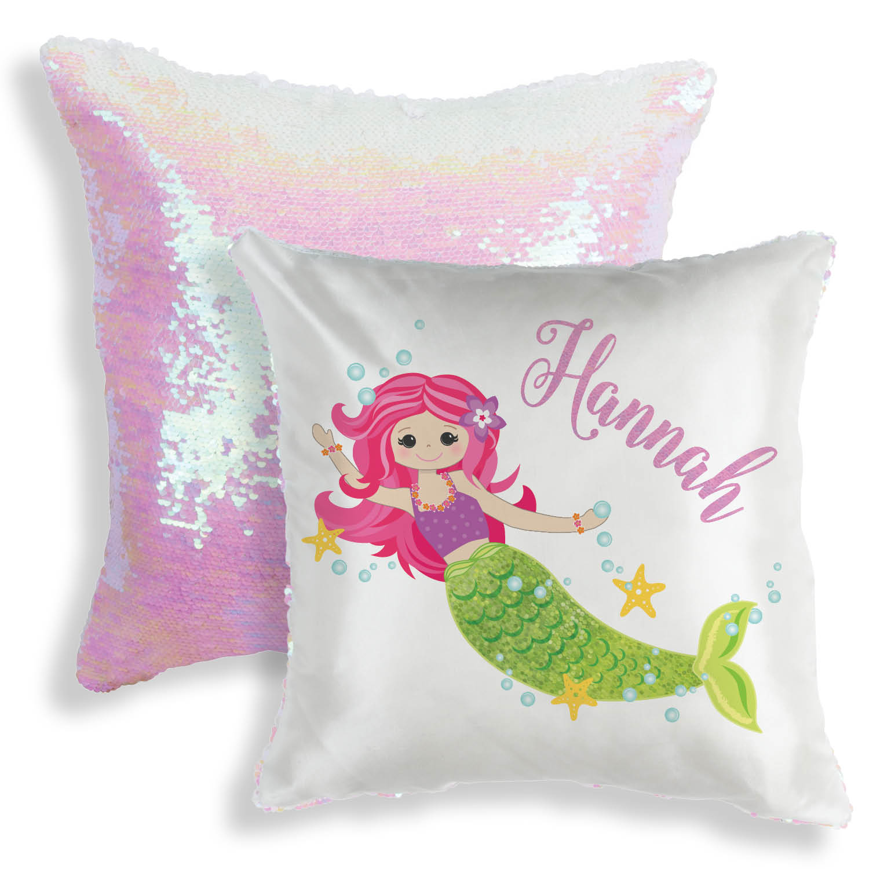 sequin pillow personalized mermaid throw pillow 16x16 walmart com