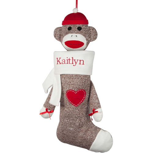 Personalized Sock Monkey Christmas Stocking White Cuff