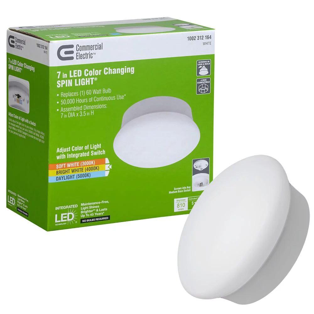 spin light 7 in white selectable led flush mount ceiling light closet laundry basement 810 lumens 3000k 4000k 5000k walmart com