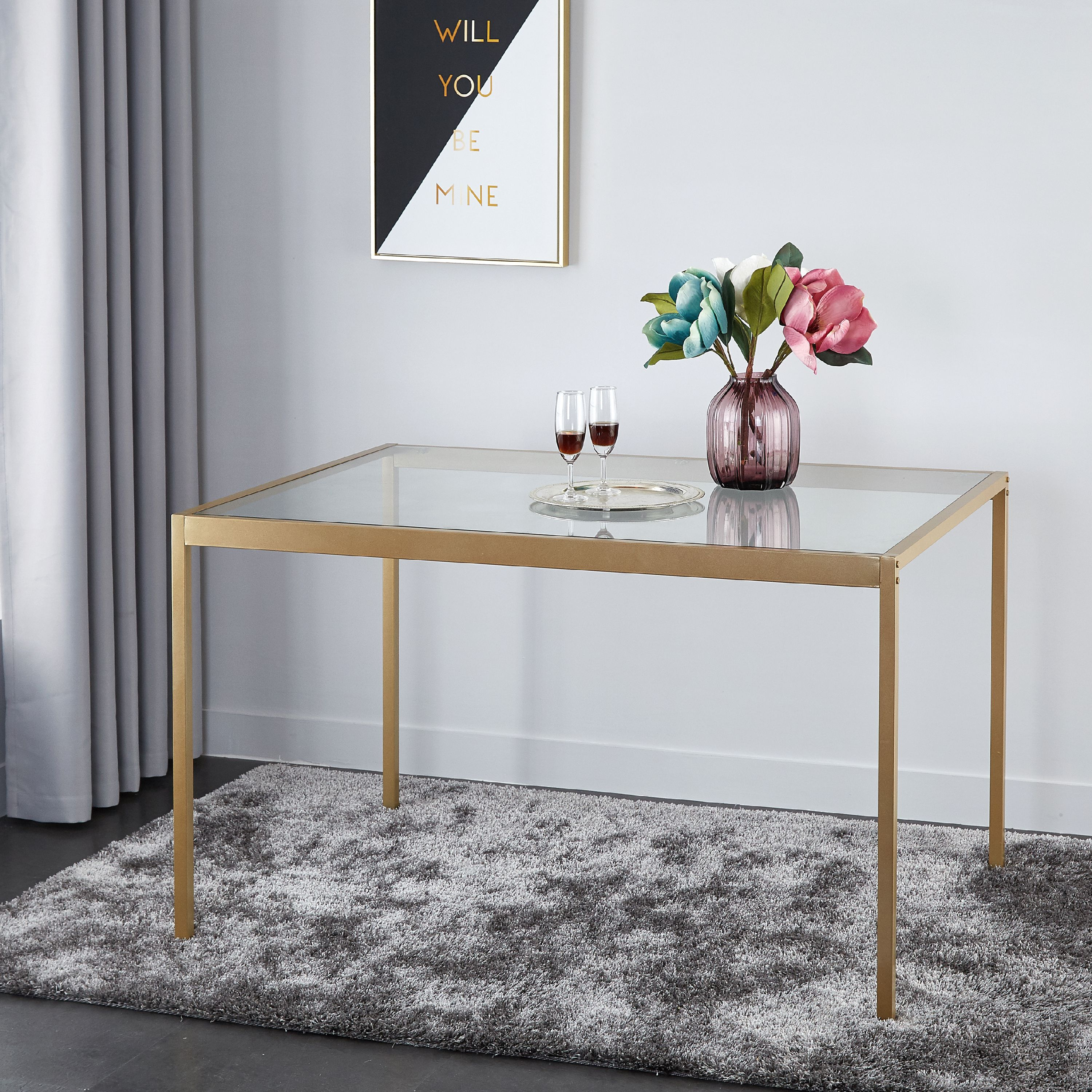 urban shop tempered glass and metal dining table large