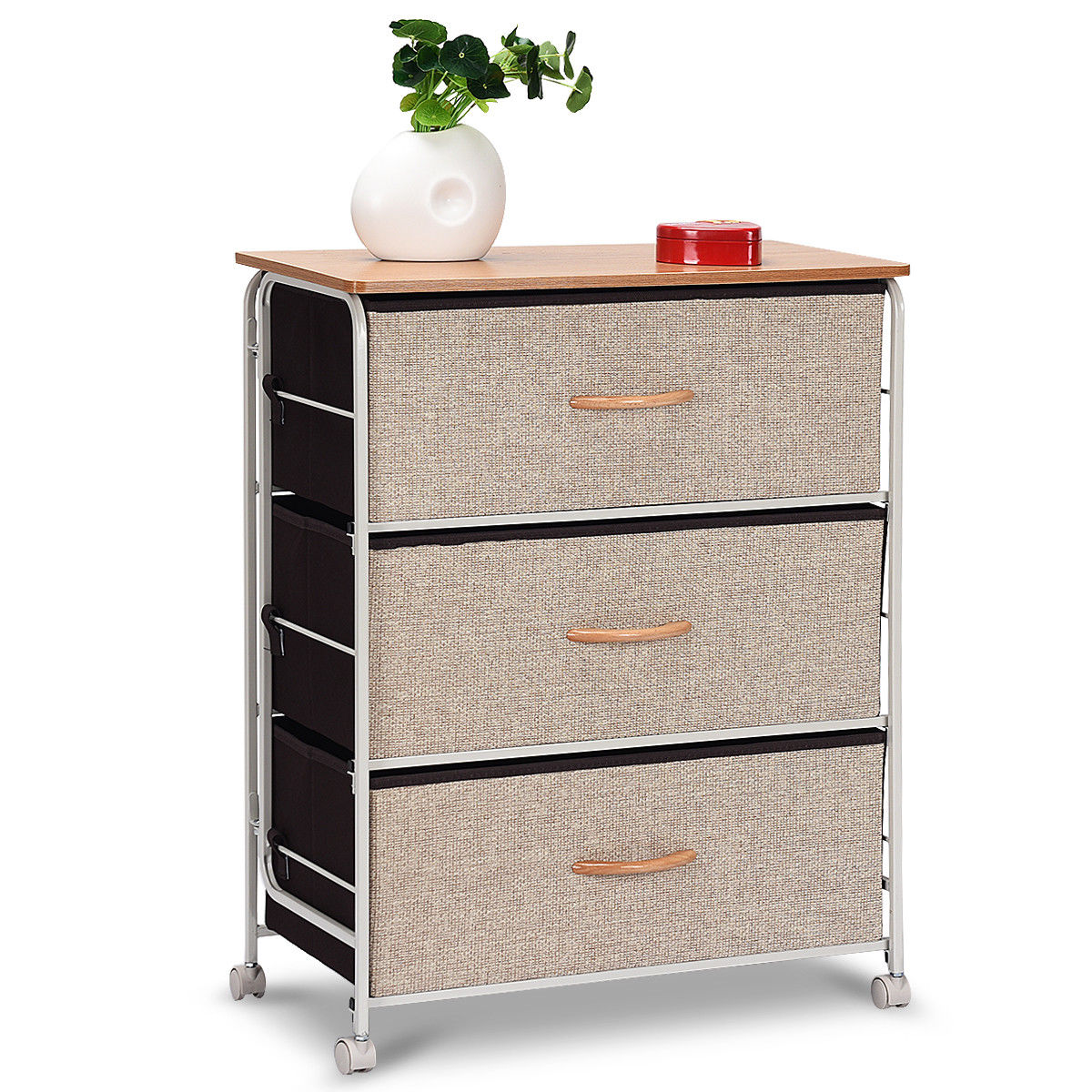 costway 3 drawer fabric storage organizer unit side table dresser cabinet w wheels