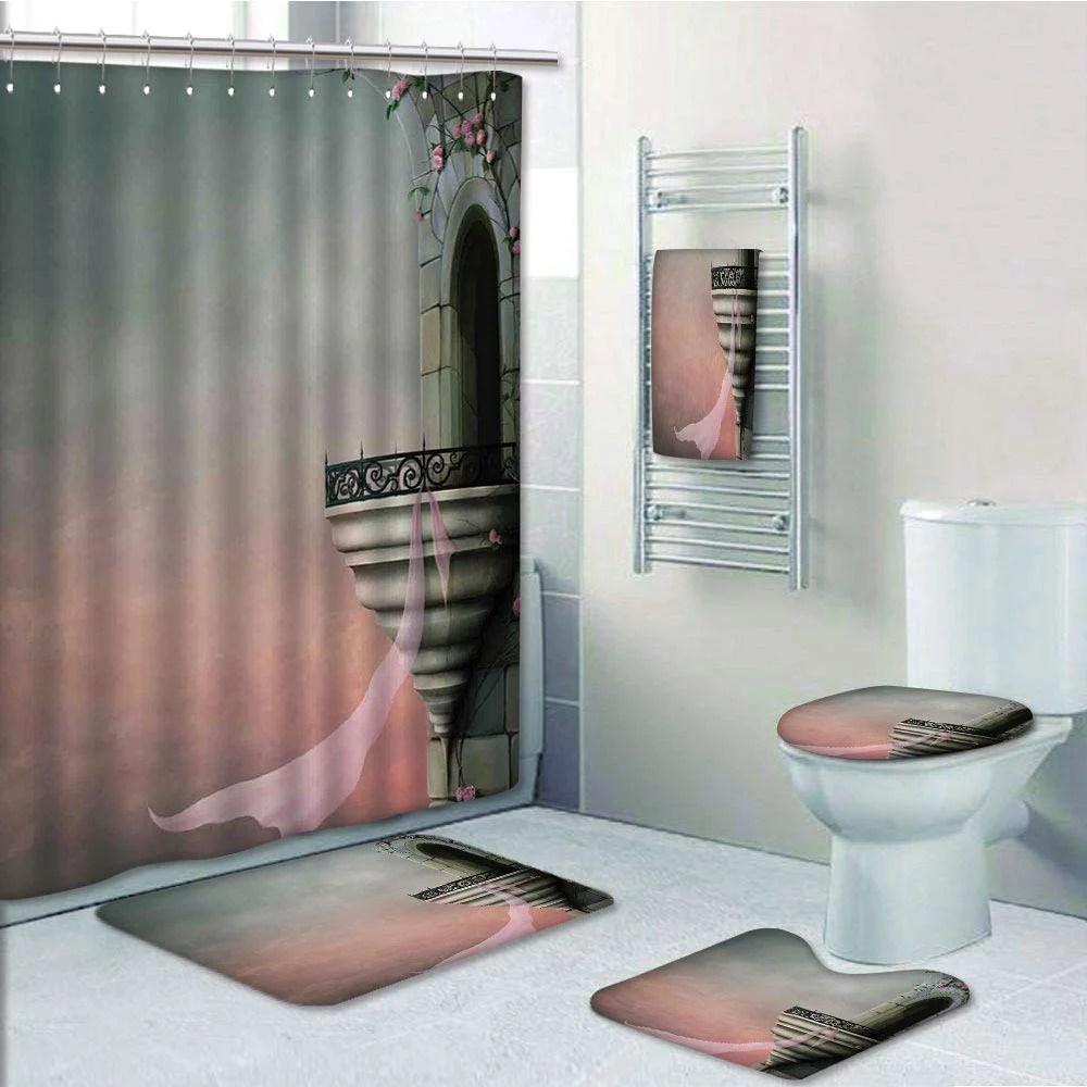 rose bathroom rug set shower curtain