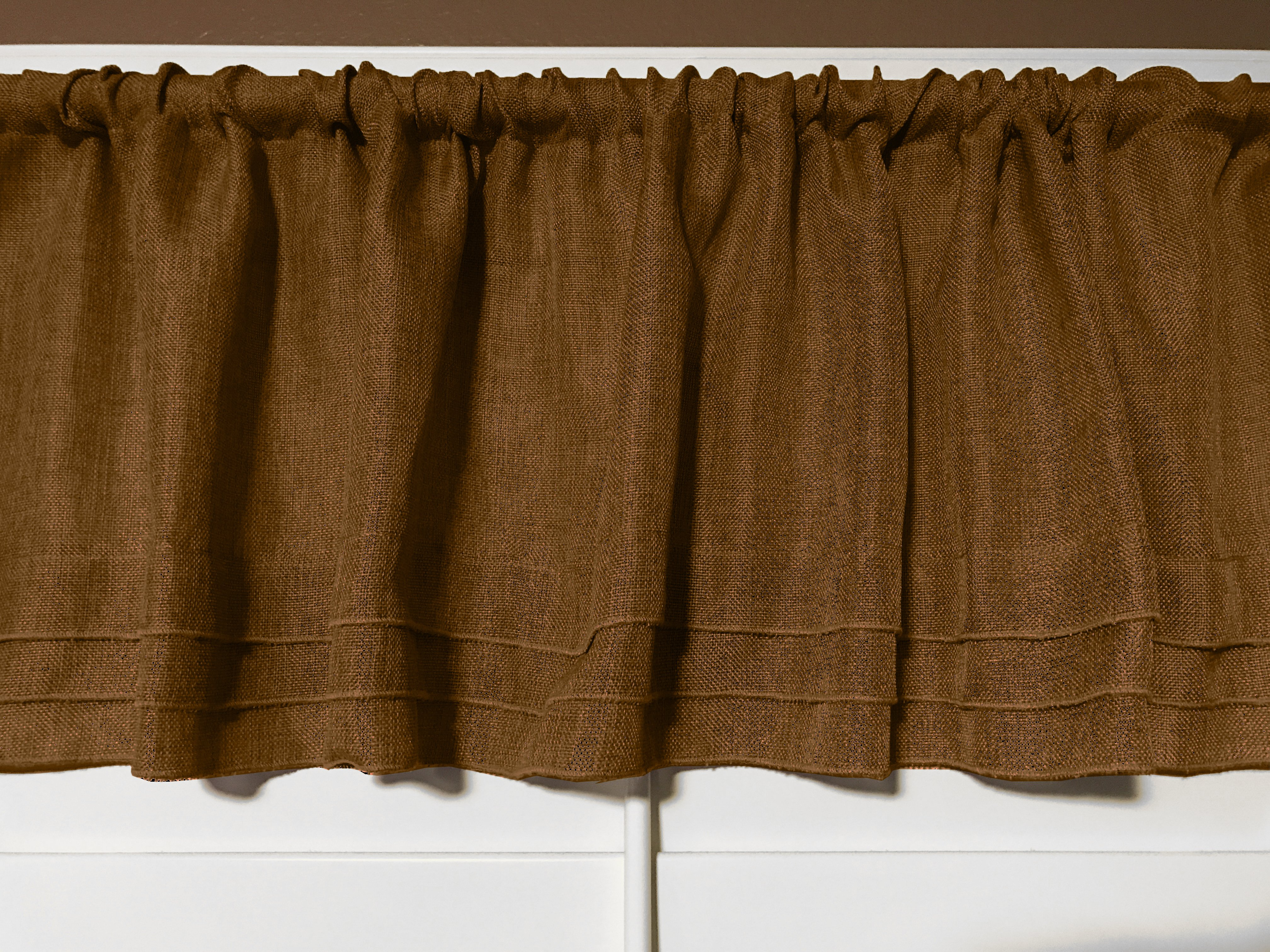 Faux Burlap Window Valance 58 Wide Bronze With Pleated