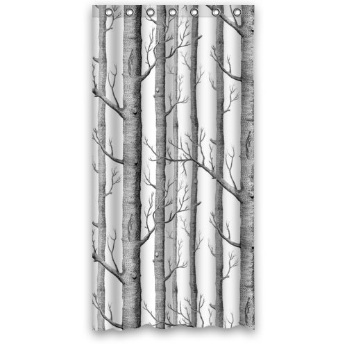 greendecor white birch trees waterproof shower curtain set with hooks bathroom accessories size 36x72 inches