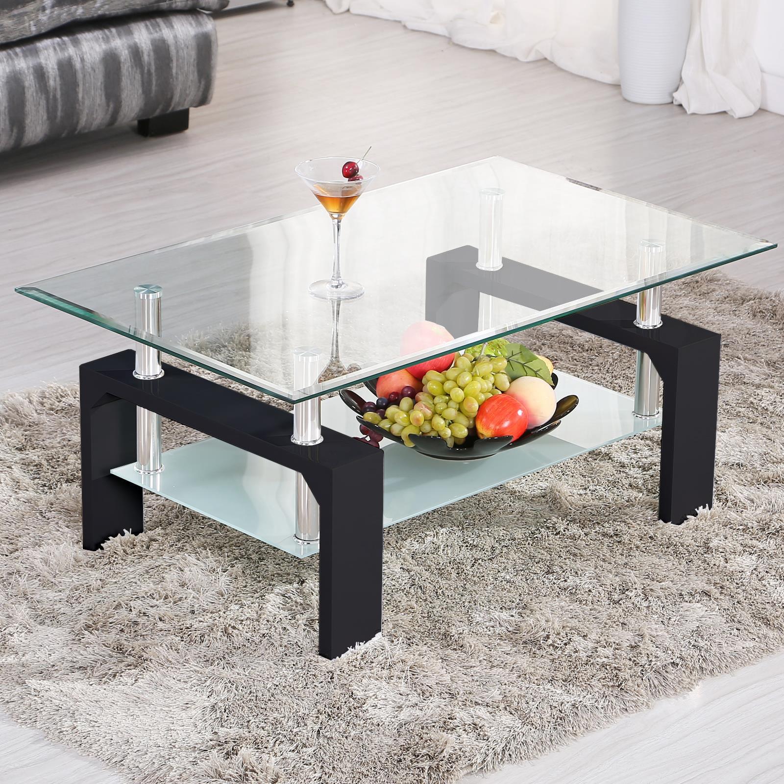ktaxon rectangular glass coffee table shelf wood living room furniture chrome base black walmart com