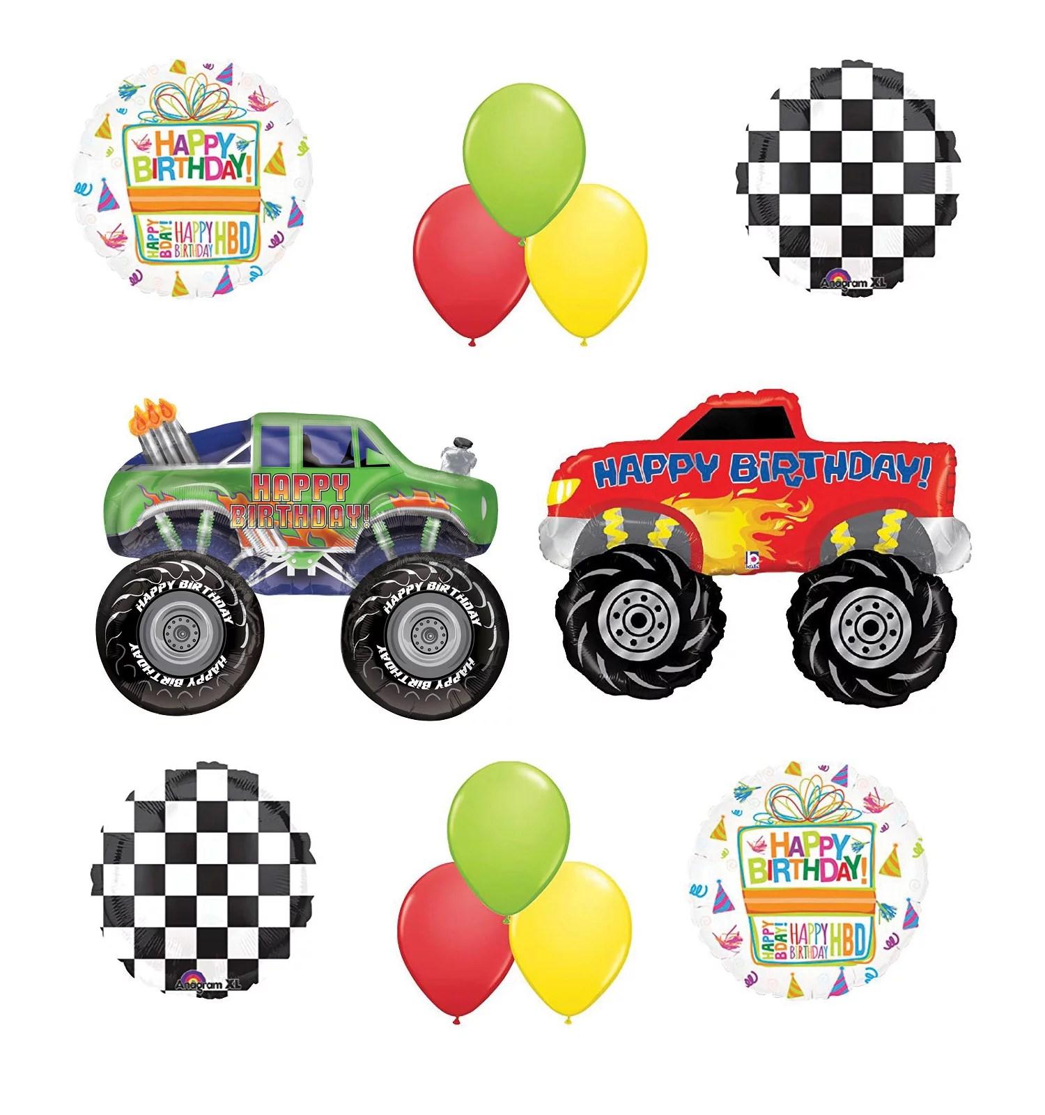 Monster Truck Birthday Party Supplies And Balloon Bouquet Decorations Walmart Com Walmart Com