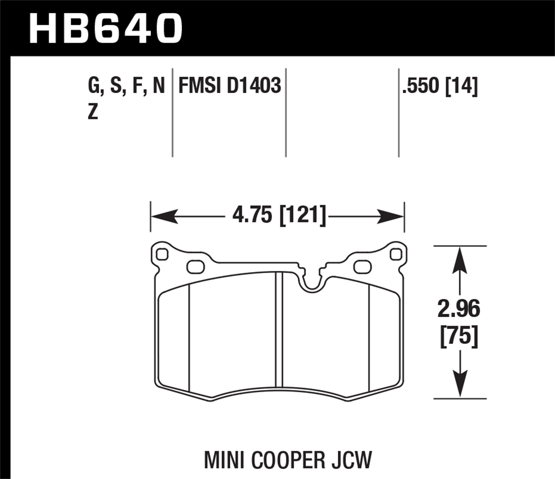 Hawk 09 15 Mini Cooper Ht 10 Race Front Brake Pads