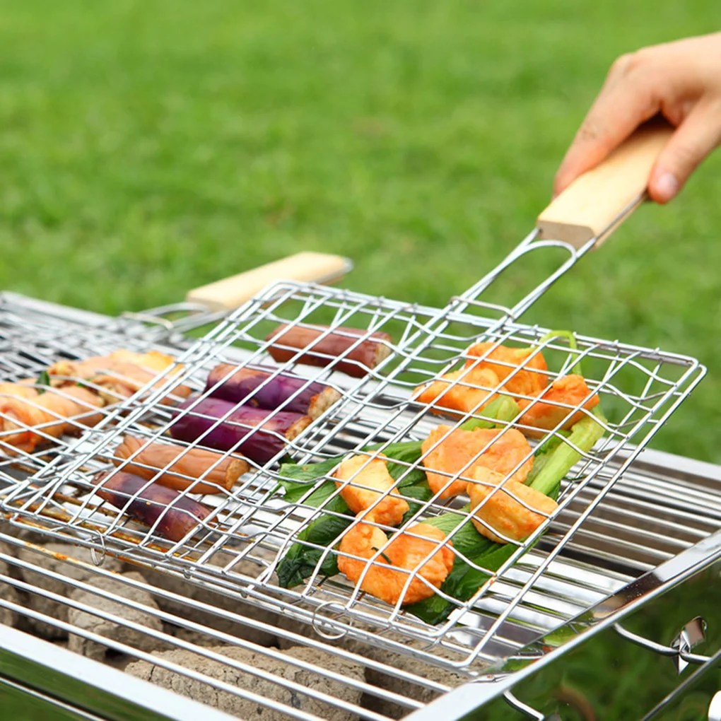 barbecue fish grilling basket roast meat vegetable bbq tool with wooden handle