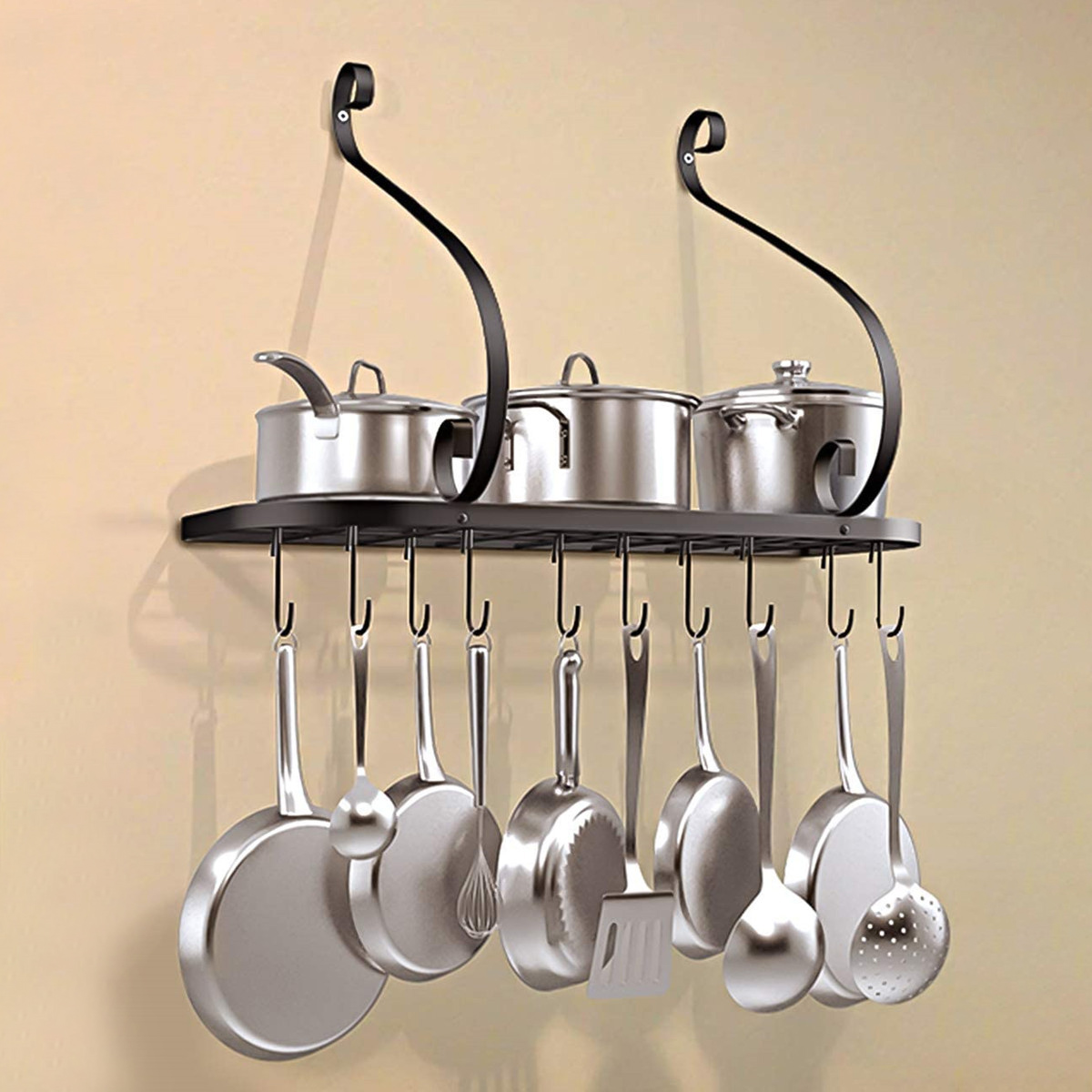 kitchen shelves wall mounted pots and pans rack with 10 hooks black grid wall mount pot rack kitchen cookware hanging organizer