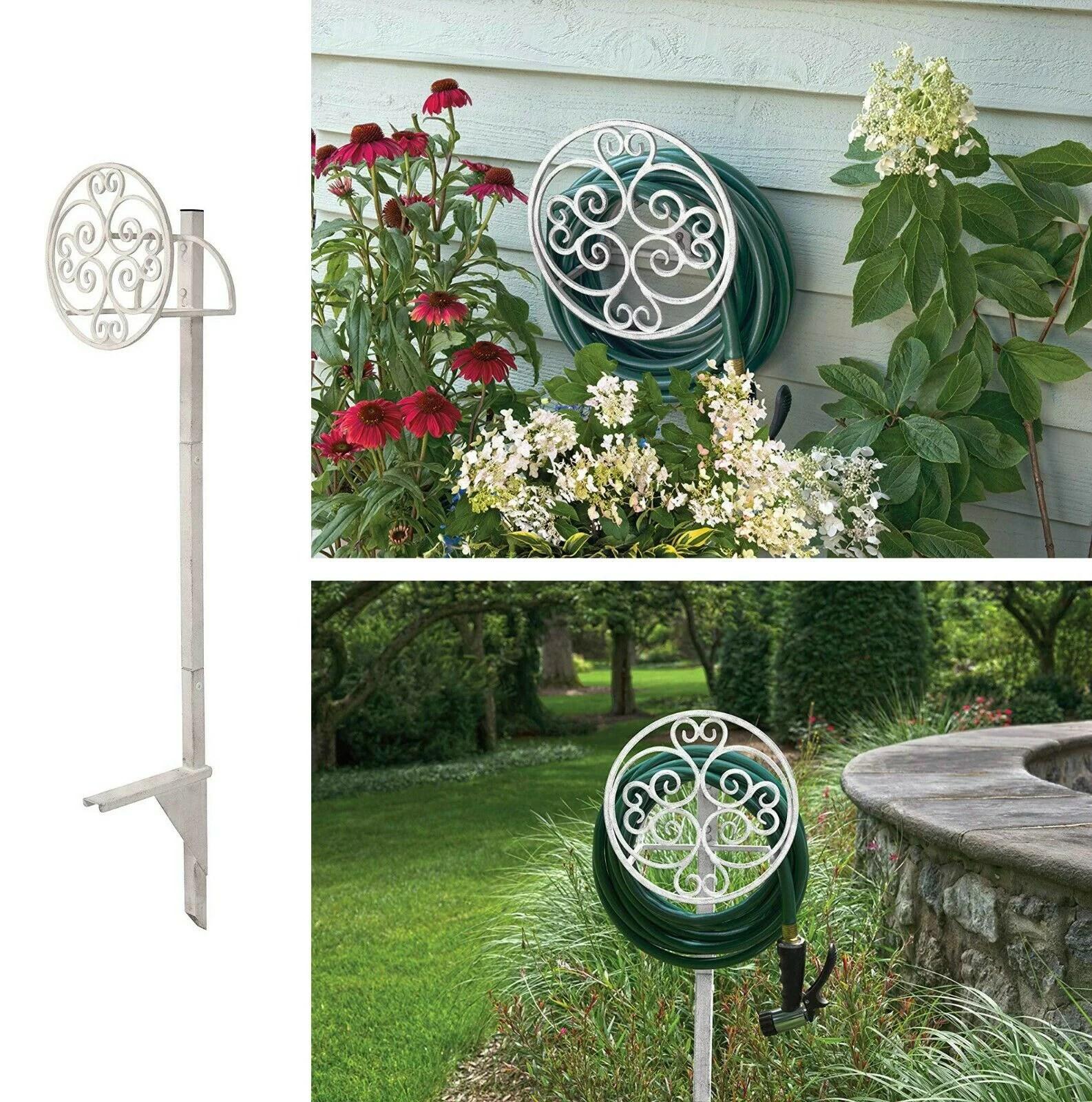 free standing garden hose holder stand decorative hanger post water hose stand reel walmart com