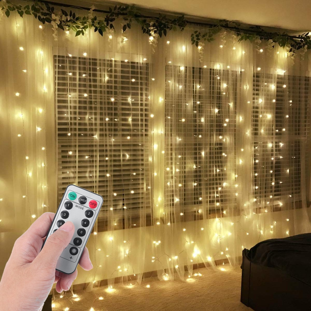 9 8ftx9 8ft 300pcs led curtain lights wall window curtain string lights for home bedroom wedding christmas party decoration 8 function control