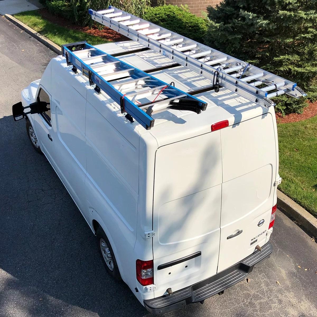 vantech heavy duty 3 bar ladder roof rack fits nissan nv cargo van high roof