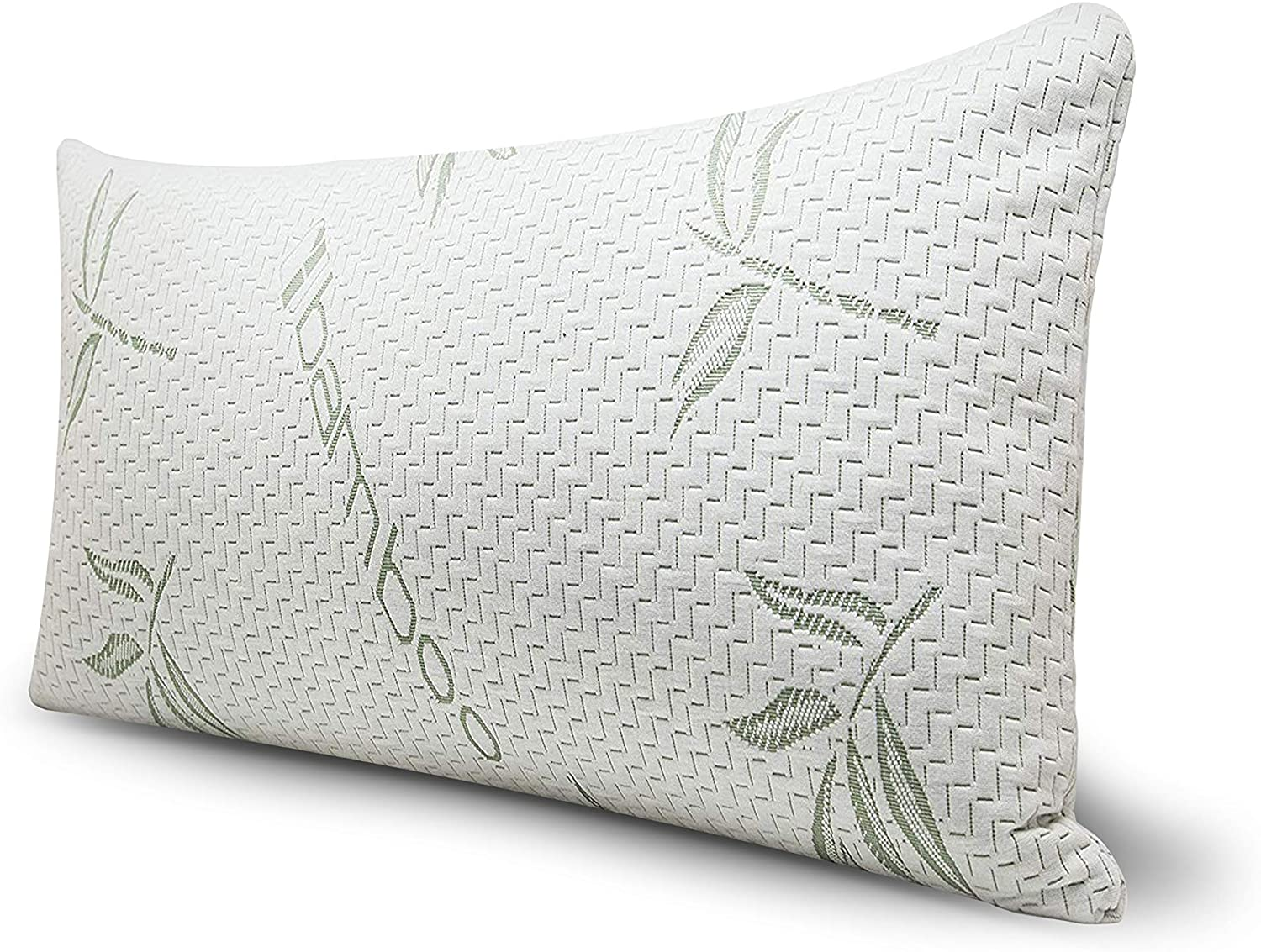 grenny green bamboo bed pillow for sleeping 1 pack shredded memory foam bed pillow with bamboo rayon hypoallergenic cover queen size 1 pack