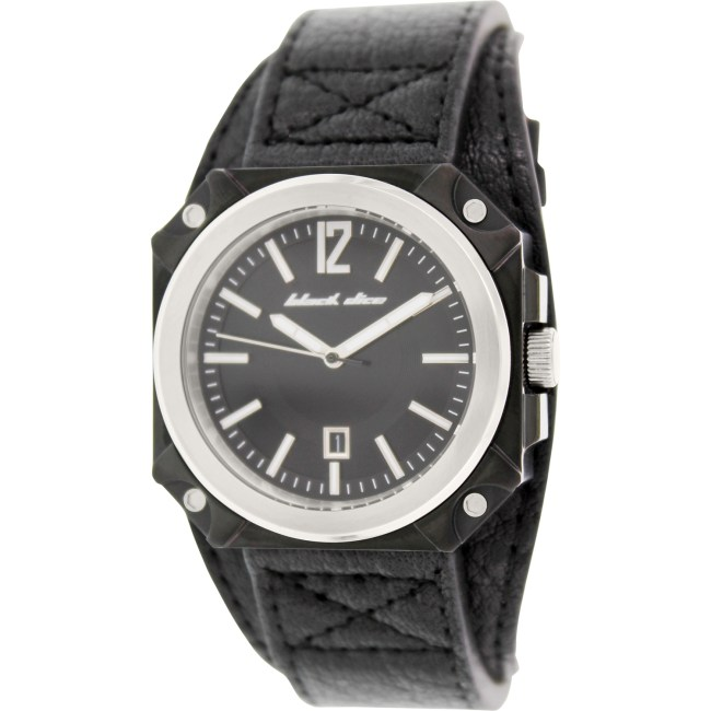 Black Dice Men's Graduate BD-070-01 Black Leather Analog Quartz Fashion Watch