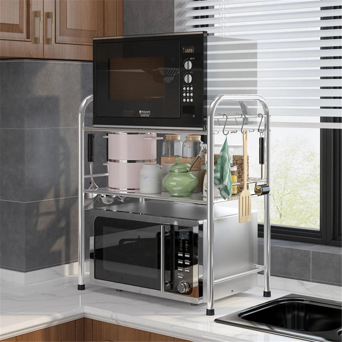 multi function stainless steel kitchen microwave oven rack organizer storage shelf 3 tier design walmart com