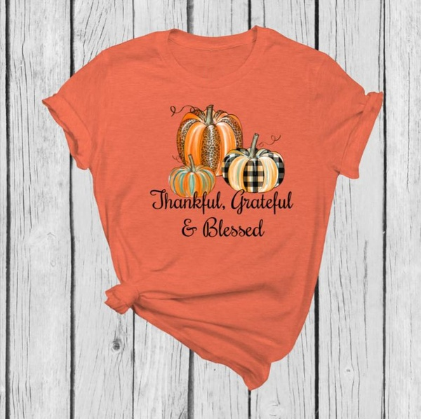 Thankful Grateful Blessed Letter Print T Shirts Women Thanksgiving Tee