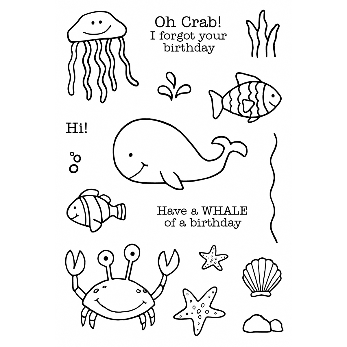 Jane S Doodles Clear Stamps 4 X6 Under The Sea