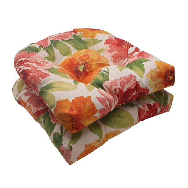 set of 2 white and red floral outdoor patio tufted wicker seat cushions 19