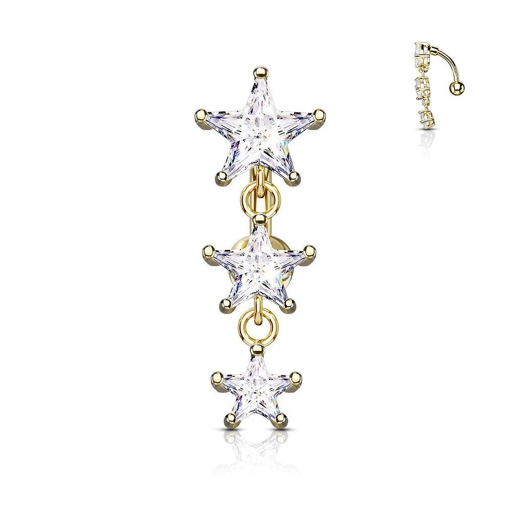 Belly Button Ring Reverse Design With Three Prong Set Star