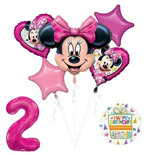 New Minnie Mouse 2nd Birthday Party Supplies Balloon Bouquet Decorations Walmart Com Walmart Com