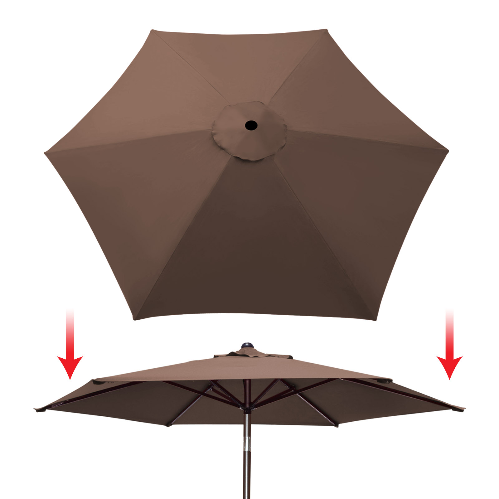 sunrise 9ft 6 ribs outdoor patio umbrella cover canopy replacement cover top brown cover only umbrella frame not included