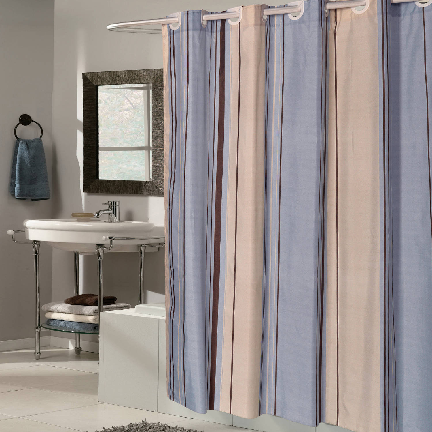 ez on blue tan striped fabric 70 x 75 shower curtain liner with built in hooks