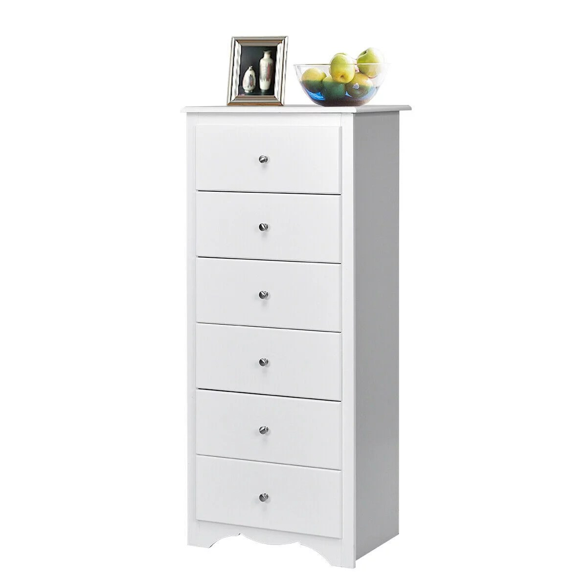 gymax 6 drawer chest dresser clothes storage bedroom tall furniture cabinet white