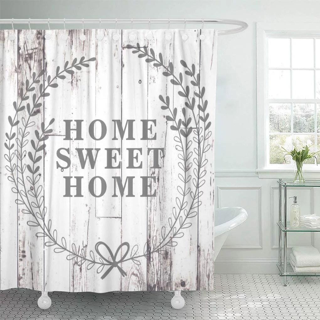 cynlon modern white wood rustic farmhouse home sweet farm shabby bathroom decor bath shower curtain 60x72 inch