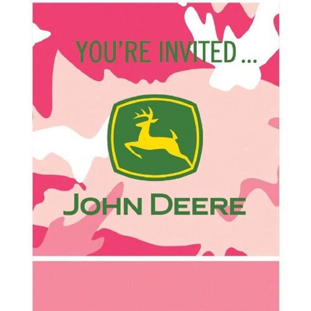 john deere pink camo tractor farm theme birthday party invitations w envelopes