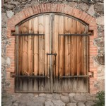 Rustic Shower Curtain Wooden Door Of A Stone House With