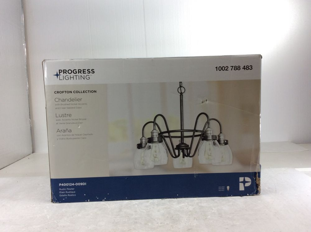 progress lighting crofton 5 light rustic pewter chandelier with brushed nickel accents and clear seeded glass new open box