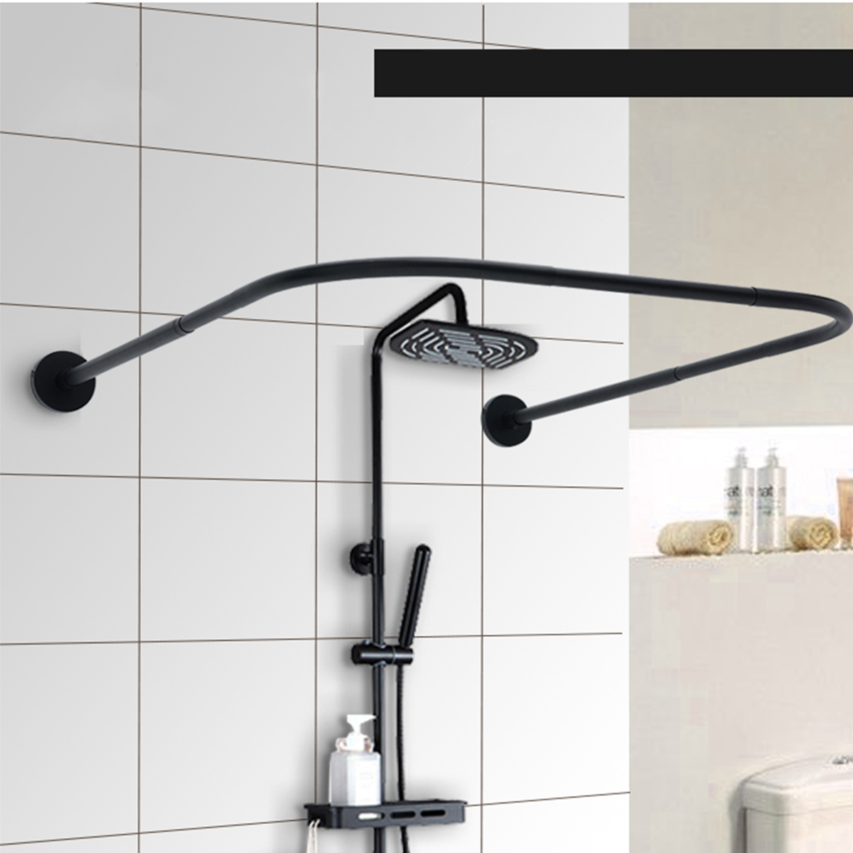 u shape adjustable curved corner shower curtain rods pole bathroom bars rail rod christmas gifts walmart com