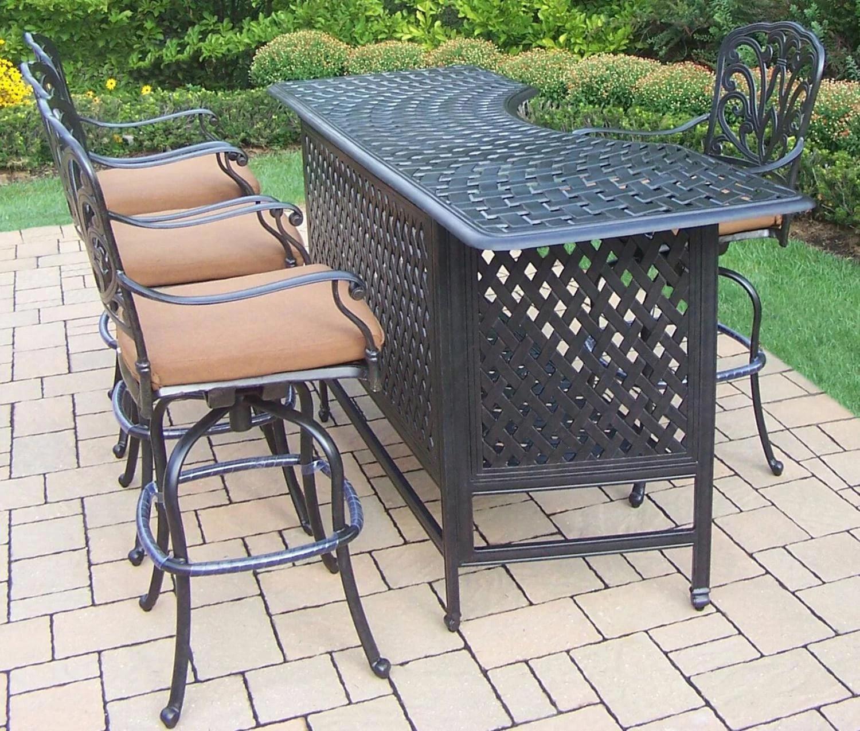 5 piece jet black aluminum outdoor patio swivel bar set w tan sunbrella cushions