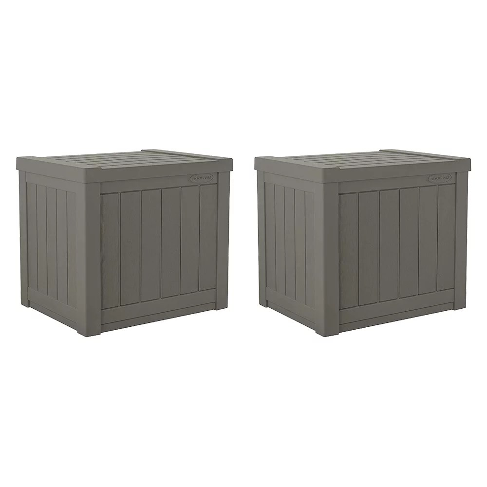 suncast ss500st 22 gallon small resin outdoor patio storage deck box 2 pack