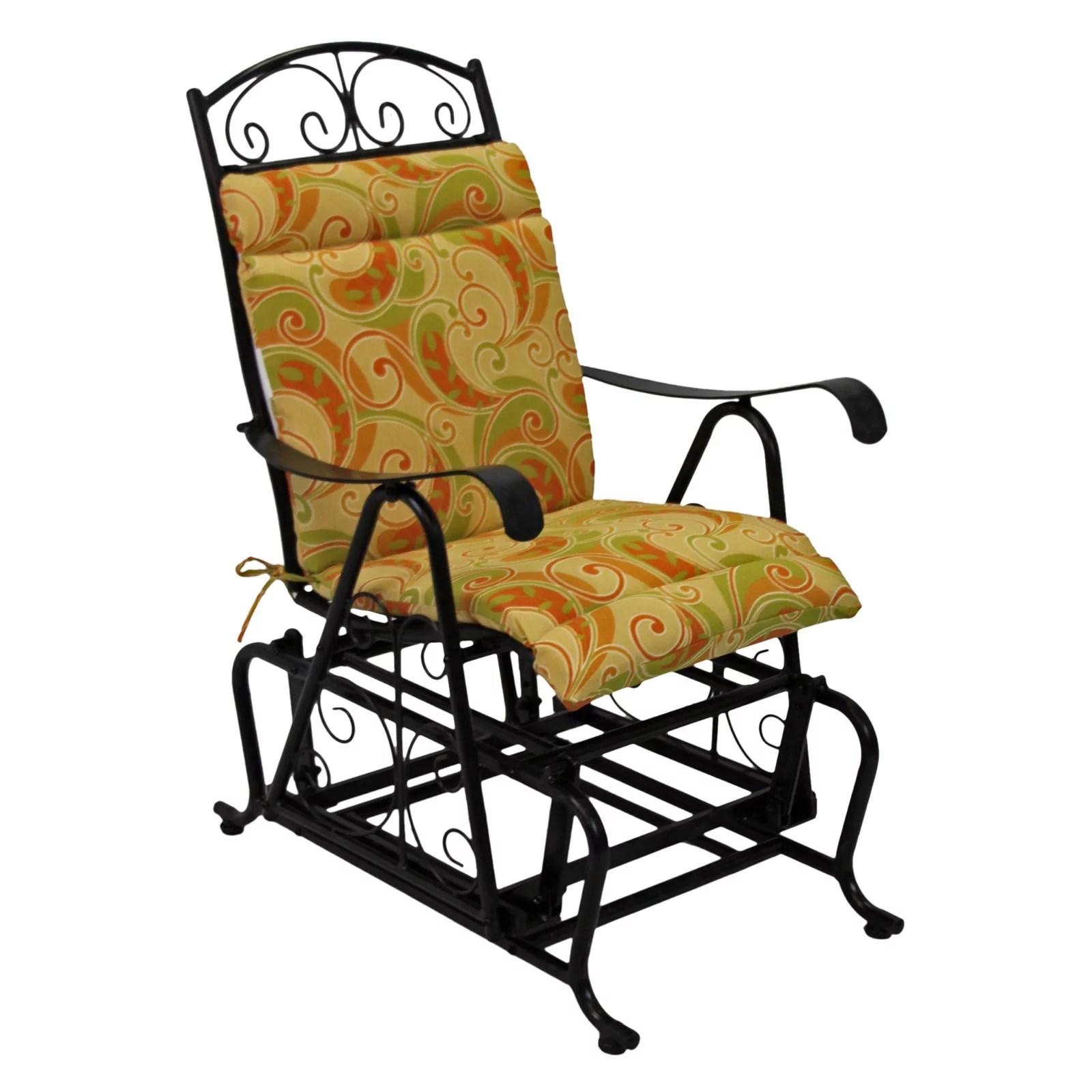 Blazing Needles Outdoor Glider Chair Hinged Seat Amp Back Cushion Walmart Com Walmart Com